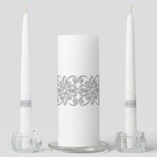 Stunning Elegant Silver & Gem Rhinestone Unity Candle Set