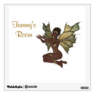 Stunning fairy with gold underwear lingerie faerie wall sticker