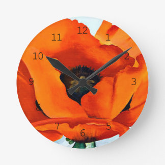 Stunning Georgia O'Keefe Red Poppy Flower Round Clock