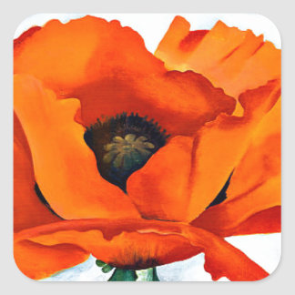 Stunning Georgia O'Keefe Red Poppy Flower Square Sticker