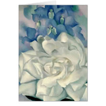 Stunning Georgia O'Keefe White Rose and Larkspur Card