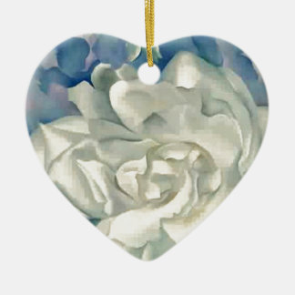 Stunning Georgia O'Keefe White Rose and Larkspur Ceramic Ornament