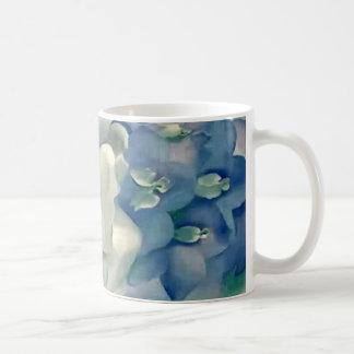 Stunning Georgia O'Keefe White Rose and Larkspur Coffee Mug