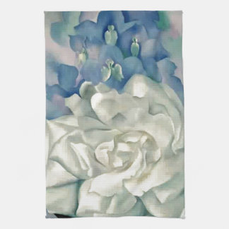 Stunning Georgia O'Keefe White Rose and Larkspur Hand Towels