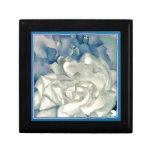 Stunning Georgia O'Keefe White Rose and Larkspur Jewelry Box