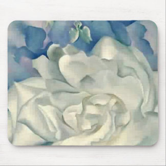 Stunning Georgia O'Keefe White Rose and Larkspur Mouse Pad