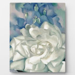Stunning Georgia O'Keefe White Rose and Larkspur Plaque