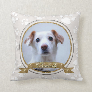 Stunning Gold and Sand Dog Memorial Paw Prints Throw Pillow