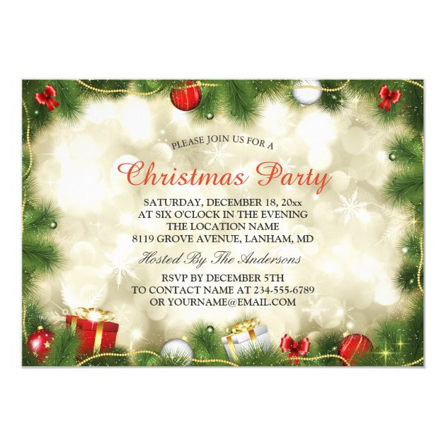 Stunning Gold Red Baubles Lights Christmas Party Card
