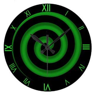 Stunning Green and Black Spiral Wall Clock