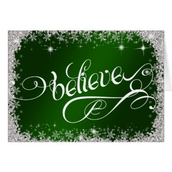 Stunning Green Holiday Believe PERSONALIZED Card
