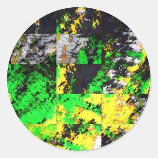 Stunning Green Yellow Abstract Fine Artwork Classic Round Sticker