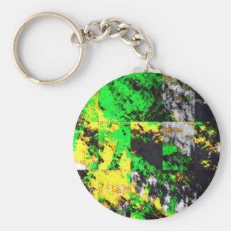 Stunning Green Yellow Abstract Fine Artwork Keychain