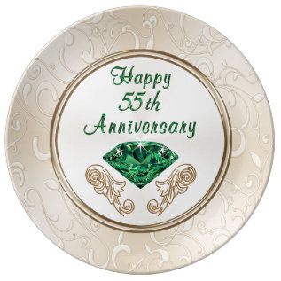 Stunning Happy 55th Anniversary Gifts Porcelain Plate at Zazzle