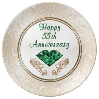 Stunning Happy 55th Anniversary Gifts Porcelain Plate