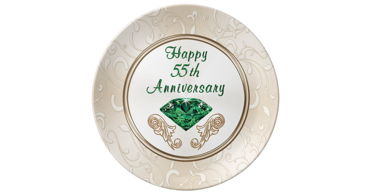 55th Wedding Anniversary Gift Ideas For Parents: Stunning Happy 55th Anniversary Gifts Porcelain Plate