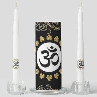 Stunning Hindu Sacred Symbol Aum Black Gold Unity Candle Set