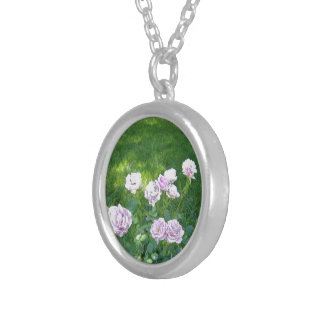 Stunning Lavendar Roses Silver Plated Necklace