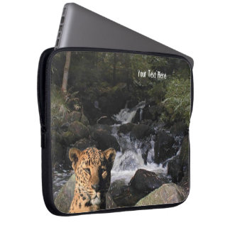 Stunning Leopard  Picturesque Waterfall Background Laptop Sleeves