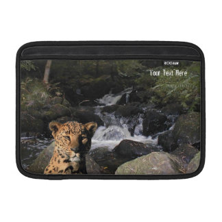 Stunning Leopard  Picturesque Waterfall Background MacBook Air Sleeves