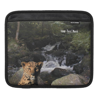 Stunning Leopard  Picturesque Waterfall Background Sleeve For iPads