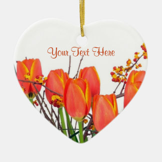 Stunning Light Orange Tulip Arrangement Design Ceramic Ornament