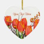 Stunning Light Orange Tulip Arrangement Design Double-Sided Heart Ceramic Christmas Ornament