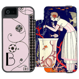 STUNNING LITTLE FISH ,ART DECO BEAUTY FASHION iPhone SE/5/5s WALLET CASE