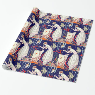 STUNNING LITTLE FISH ,ART DECO BEAUTY FASHION WRAPPING PAPER