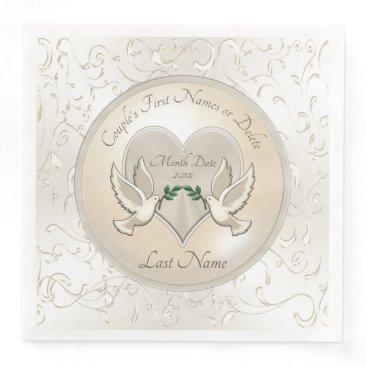 Wedding Themed Stunning Love Doves Personalized Wedding Napkins