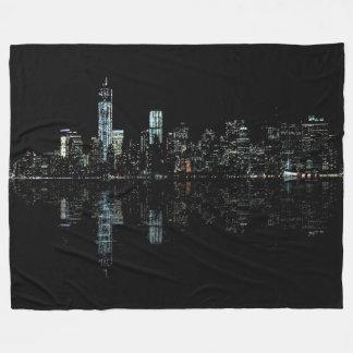 Stunning Night Photo of New York Skyline Fleece Blanket