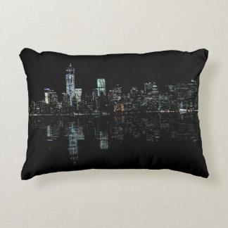 Stunning Night Photo of New York Skyline Accent Pillow
