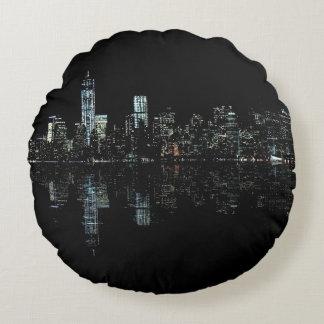 Stunning Night Photo of New York Skyline Round Pillow