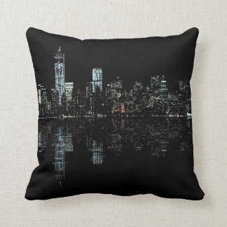 Stunning Night Photo of New York Skyline Throw Pillow