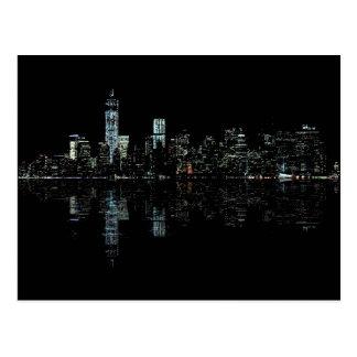 Stunning Night Photo of New York Skyline Postcard