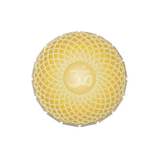 Stunning Om Symbol in yellow Candy Tins