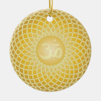 Stunning Om Symbol Double-Sided Ceramic Round Christmas Ornament