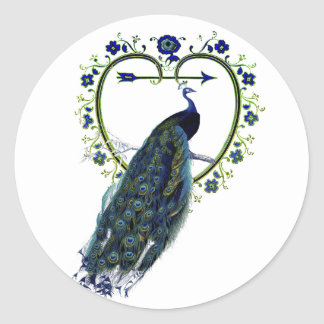 Stunning Peacock and ornate heart flower frame Classic Round Sticker