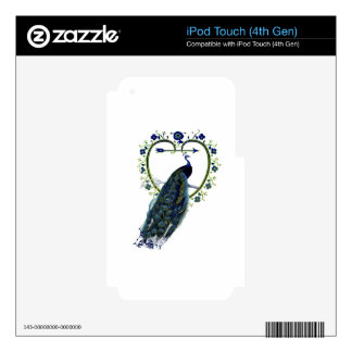 Stunning Peacock and ornate heart flower frame Decals For iPod Touch 4G