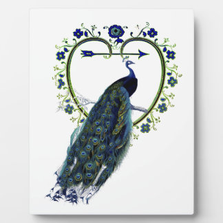 Stunning Peacock and ornate heart flower frame Photo Plaque