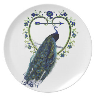 Stunning Peacock and ornate heart flower frame Party Plates