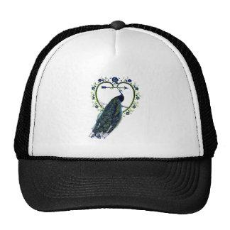 Stunning Peacock and ornate heart flower frame Trucker Hat