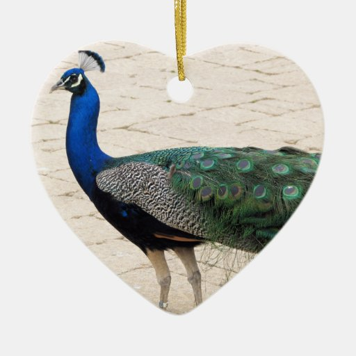 Stunning Peacock Double-Sided Heart Ceramic Christmas Ornament