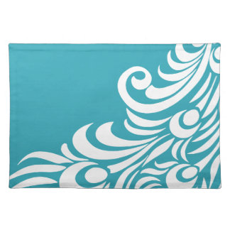 Stunning Peacock Feather Silhouette Print Cloth Placemat