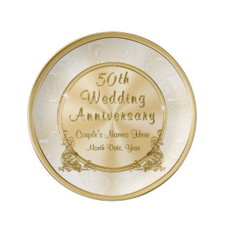 Stunning Personalised Gold 50th Anniversary Gifts Porcelain Plate