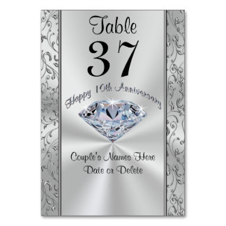 Stunning Personalized 10th Anniversary Table Cards