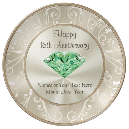 Stunning Personalized 16th Anniversary Gifts Dinner Plate