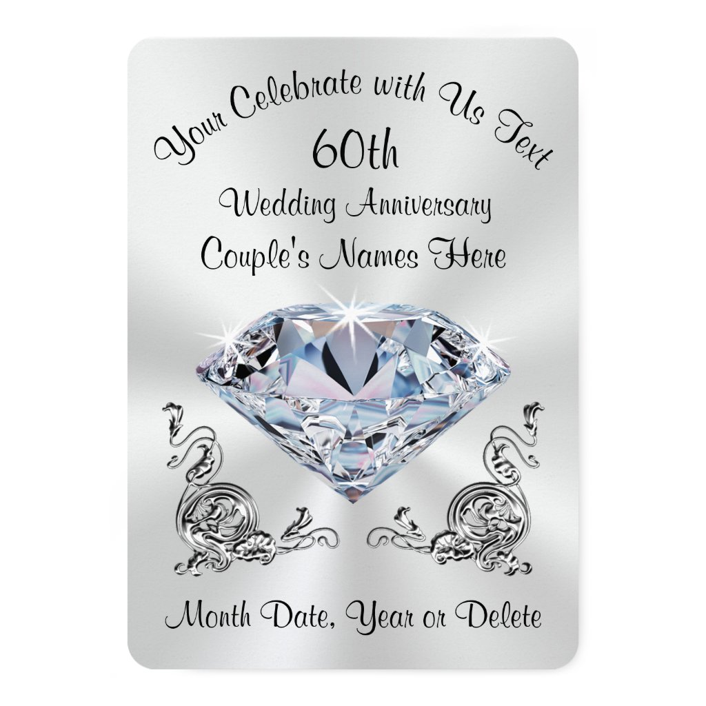 Stunning Personalized 60th Diamond Invitations