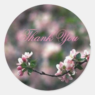 Stunning Pink Cherry Blossom Branch Thank You Classic Round Sticker