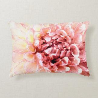 Stunning pink dahlia flower head close up accent pillow